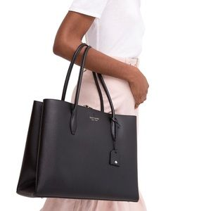 kate spade large tote Eva black leather bag